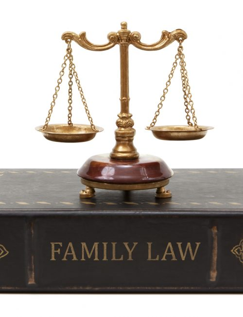 Family law book with scales of justice. The book spine is weathered and old looking.